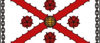 """Flag depicting International Clan MacFarlane Society Arms. 3'X5' made of sturdy outdoor material printed with UV Ink. Perfect for display on Clan Tents and other Society Functions. From the Court of the Lord Lyon: """"The coat of arms fills the banner right to its edges, as though it were a rectangular shield. It is quite wrong to use a banner of a plain colour with the owner's arms on a shield in the middle. This would mean that the owner's arms were ...of that colour with a lithe inescutcheon In the centre. Nor should the external """"additaments"""" be shown, i.e., helmet, mantling, crest, motto and supporters. Its purpose is the location and identification of its owner, and it Is the visual equivalent of his name. The extent of its usage depends upon the corporate body, whether it is only flown over the headquarters building or at all the company's or corporation's sites. Its use as a car bonnet flag is restricted to the head of the corporate body and when he is acting as such"""""""